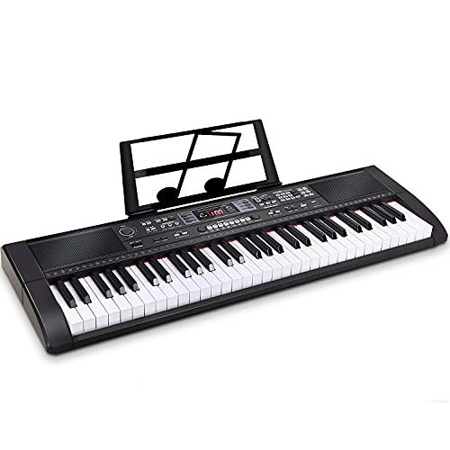 Souidmy Tastiera Musicale, Pianoforte Elettrica a 61 tasti, Pianola Portatile per Principianti con Bluetooth, Casse Incorporate, Doppia Alimentazione