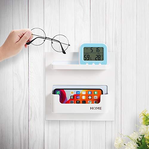 7U Bedside Shelf Organizer, Adhesive Stick on Wall Mounted Bedside Shelf for Phone, Glasses, Remote in Dorm Bedroom - White (2 Holder)