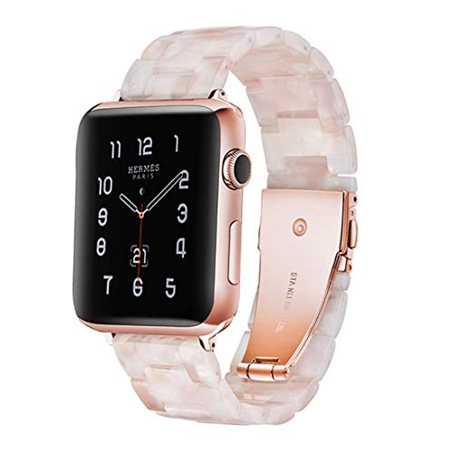 F-wheel Resin Watch Band 38mm 40mm Compatible with Apple Watch Women Men Series 5/4/3/2/1 with Stainless Steel Buckle, Party,Work,Date,Running,Compatible with iWatch Replacement Strap(Pink White 38)