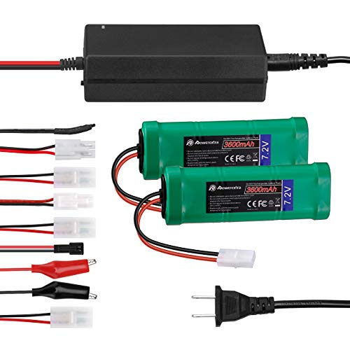 Powerextra 2 Pack 7.2V 3600mAh High Capacity 6-Cell NiMH Battery Packs with Standard Tamiya Connectors + 6V-12V Universal Battery Charger for NiMH/NiCd Battery Pack