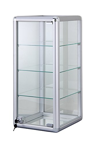 "Only Hangers F-1302 Silver Showcase Elegant Silver Anodized Aluminum Vertical Display Case Table Top Tempered Glass Show Case. Tempered Glass Door with Key Lock- Four Shelves Display, 12"" x 14"" x 27"""