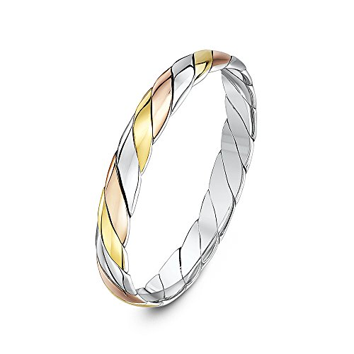 Theia Unisex 9 ct Yellow, White and Rose Gold, 3 mm Twisted Wedding Band Ring, Size W
