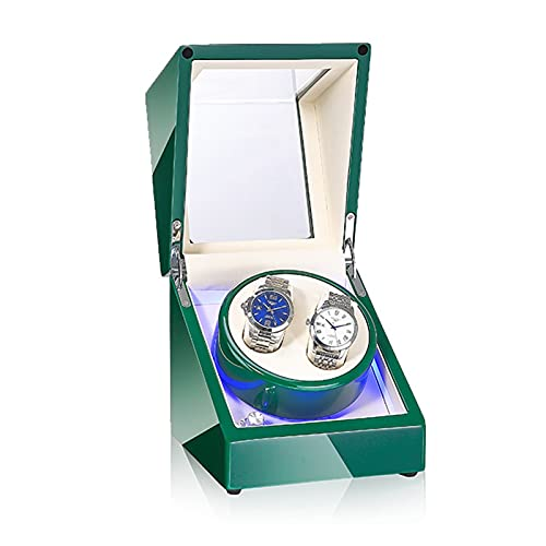 GUOYUN Cajas Giratorias 5 Modos para Relojes Caja Relojes Automaticos Caja De Relojes Mecánicos Caja Bobinadora (Color : Green+Inner White, Size : 2+0)