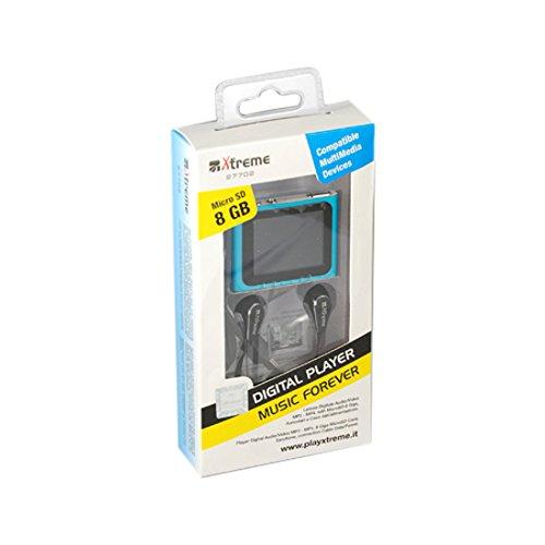 Xtreme 27702B Lettore MP 4/MP 3 con Schermo da 1.8', Completo di MicroSD da 8 GB, Cavo Dati e Auricolare