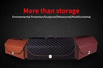 Car Trunk Leather Storage Organizer Box Stitching Foldable Leather Car Storage Box Portable Large Space Collapsible Vehicle Organizer Divider Storage for Car Trucks SUV Red