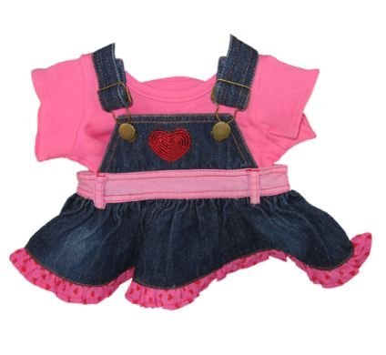 Candy Denim Dress & T-Shirt Outfit Teddy Bear Clothes fit 15in Build a Bear