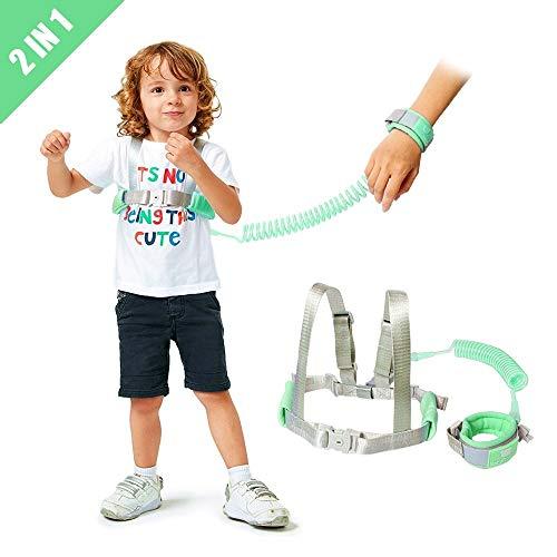 Lehoo Castle Kinder Sicherheitsleine, 2m Kinder Leine Handgelenk, Anti-verloren Gürtel Handgelenk Link(Grün)