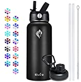 Elvira 32oz Vacuum Insulated Stainless Steel Water Bottle with Straw & Spout Lids, Double Wall Sweat-proof BPA Free to Keep Beverages Cold For 24 Hrs or Hot For 12 Hrs-Black