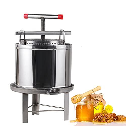 JAY-LONG Exprimidor Manual Grande de Miel para Frutas, Extractor de Cera de Abejas de Acero Inoxidable, exprimidor de Jugo de Manzana y Naranja para Hacer Vino y Jugo