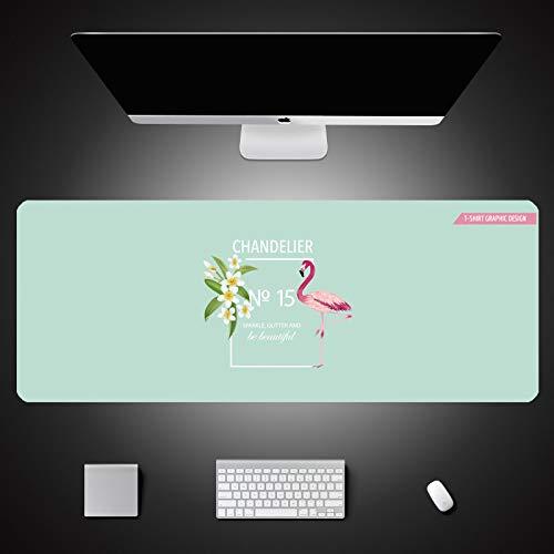 LZDAYK Alfombrilla de ratón para juegos 1200x600x3mm Rosa verde flamenco de gran tamaño de extensión alfombrilla de mesa de juego alfombrilla de goma antideslizante con borde de costura alfombrilla de