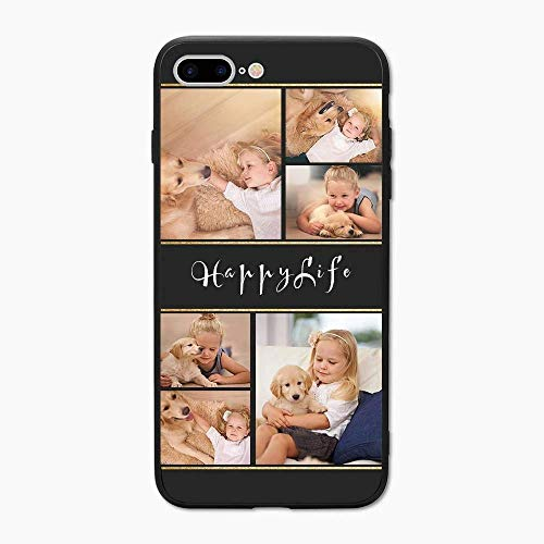 Custom Phone Case for iPhone 7 Plus 8 Plus, Custom Name Phone Case, Protective Cover Shockproof Personalized Photo Phone Case Gift for Birthday Christmas Best Friends,Black