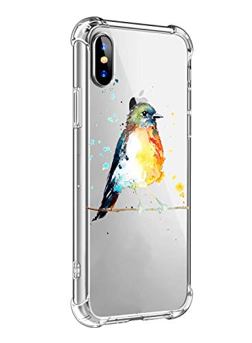 Oihxse Funda Compatible con iPhone 7 Plus / 8 Plus 5.5' Ultra Delgada Ligera Transparente Silicona TPU Gel Suave Carcasa Elegante Patrón Anti-Rasguño Protector Caso-Gorrión