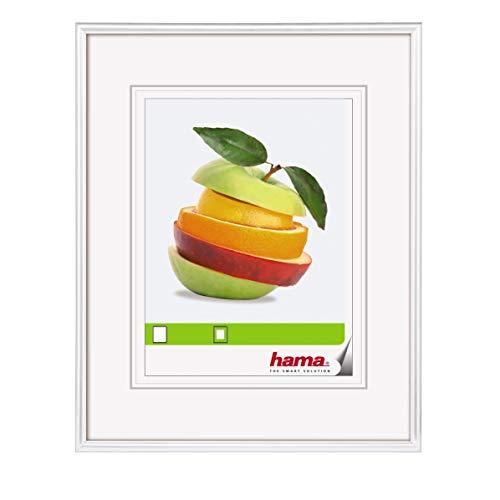 Hama Sevilla Bilderrahmen, 13 x 18 cm mit Papier-Passepartout 9 x 13 cm, hochwertiges Glas, Kunststoff Rahmen, zum Aufhängen und Aufstellen, weiß
