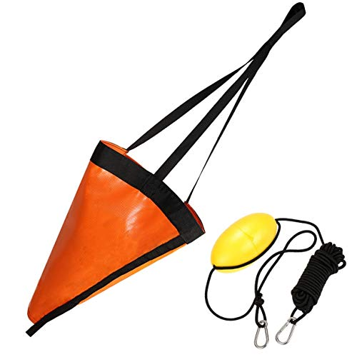 Ikerall Drift Socks sea Anchor Hook (32 inch Orange)+ 30ft Kayak Tow Rope Buoy Ball Float Suitable for The Ocean Boat/Wind Boat/Inflatable Boat/Power Boat etc