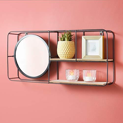 A2Z Home Solutions Smart, mehrteilige Ablage mit integriertem Spiegelregal, Schwarz
