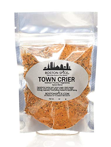 Boston Spice Town Crier Handmade Gourmet Seasoning Dry Rub Blend Poultry Chicken Turkey Seafood Fish Shrimp Vegetables Grilling Barbecue Baked Smoker Wings BBQ Oven Roasted (Approx 1 Cup of Spice)