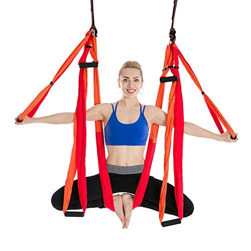 Exercise Band Anti-gravity Aerial Yoga Hangmat Set Multifunctionele Yoga Belt Flying Yoga Inversion Tool for Pilates Body Shaping met Carry Bag yoga Strap (Color : 11 Mix Red)
