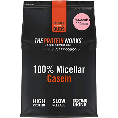 Caseina Micellare 100% Proteine In Polvere THE PROTEIN WORKS | Frullato Proteico A Rilascio Lento | Aminoacidi | Supporta Il Recupero | Panna & Fragole, 500 g
