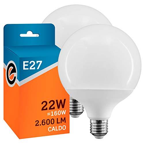 2x Lampadine LED E27 22W Professionali Garanzia 5 anni Opaca (2600 lumen pari a 160W) Globo Luce Bianco Caldo 3000K Fascio Luminoso 200° - Eurocali