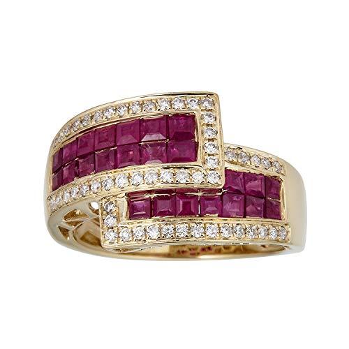 Gin & Grace 10K oro amarillo genuino Rubí diamante natural (I1, I2) Proponer la promesa anillo para las mujeres