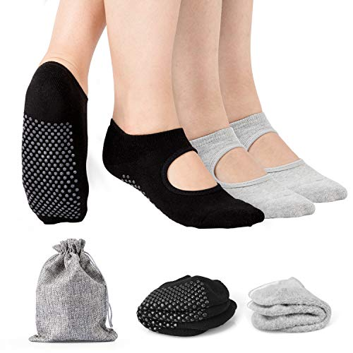 Tusscle Yoga Socks, 2 Pairs Yoga Socks for Women Non-Slip Socks with Grips Ideal for Yoga, Pilates, Barre,Ballet,Dance and Sports for Home & Body Balance