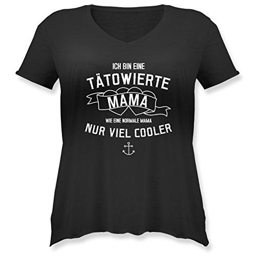Muttertagsgeschenk - Ich Bin eine tätowierte Mama - 48 Große Größen - Schwarz - Tattoo - JHK603 - Weit geschnittenes Damen Shirt in großen Größen mit V-Ausschnitt