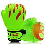 Luniquz Kids Boxing Gloves for Punching Bag Training, 4 OZ 6 OZ Fit 3 to 14 YR, Green