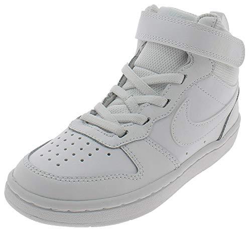 Nike Court Borough Mid 2 Little Kid, Scarpe da Basket, White/White-White, 30 EU