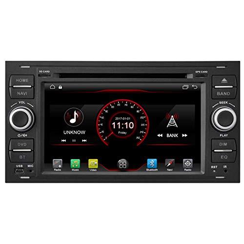 Autosion Lecteur DVD de voiture Android 10 GPS stéréo radio multimédia Wifi pour Ford Fiesta 2005 Kuga 2008–2011 S-Max 2007–2009 Prise en charge du volant (Noir)