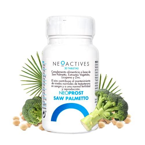 NeoProst Saw Palmetto | Para hombres a partir de 50 años | Aporta ácidos grasos y esteroles | licopeno, brócoli y zinc | Ayuda hiperplasia benigna de próstata y caída del cabello (30 cápsulas)