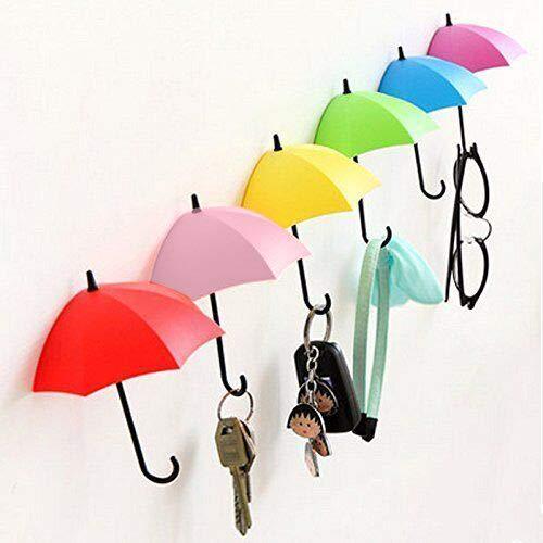 Pulchram 6 PCS Wand Haken, Schlüsselaufhänger Selbstklebende Tür Schlüssel Kleidung Haken Halter Regenschirm Dekorative Accessoires Wohnkultur Akzente Geschenk
