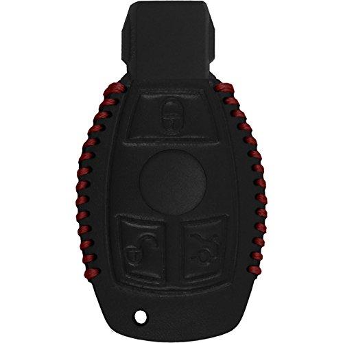PhoneNatic Echtleder Stitched Schlüssel Hülle kompatibel mit der Mercedes-Benz B Klasse 3-Tasten Fernbedienung in schwarz Funkschlüssel 3-Key