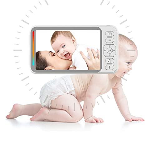 Anyer Monitor de bebé, Monitor de Pantalla de Alta definición de 4.3 Pulgadas, intercomunicación bidireccional 2.4G Cámara inalámbrica Vox Función infrarrojo Visión Nocturna