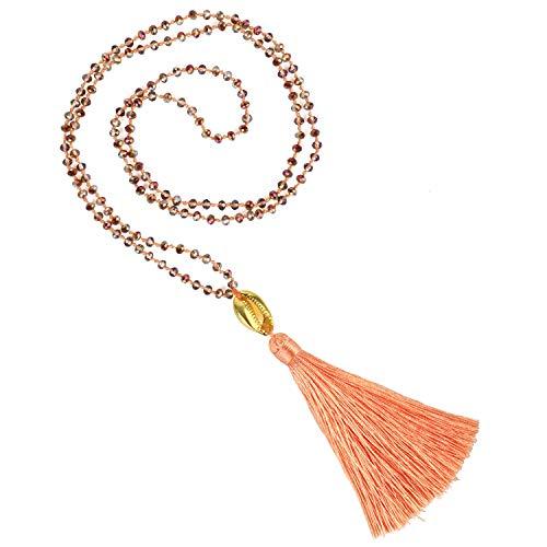 KELITCH New Gold Shell Cowry Beaded Strand largo Borla Colgante Collar Declaración Cadena Hilos Collares Suéter Cadena para Mujeres (Naranja K)