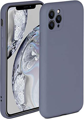 ONEFLOW Soft Hülle kompatibel mit iPhone 11 Pro Max Hülle aus Silikon, erhöhte Kante für Displayschutz, zweilagig, weiche Handyhülle - matt Blau Grau