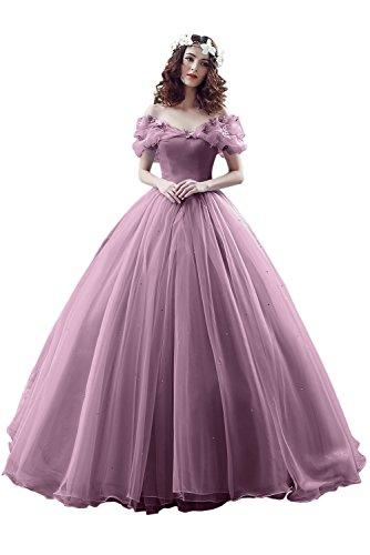 Victory Bridal Wunderschoen Alt Rosaes Kurzarm Abendleider Quincenera Ballkleider Lang Promkleider Cinderella -32 Alt Rosa