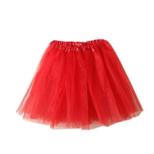 Damen Tütü Tutu Minirock Petticoat Tanzkleid Ballettrock Pettiskirt Unterrock, Mutter, Rot