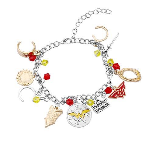 WSNANG Wonder Woman Inspired Gift Wonder Woman Necklace Wonder Woman Bracelet Set Dc Comics Fan Gift