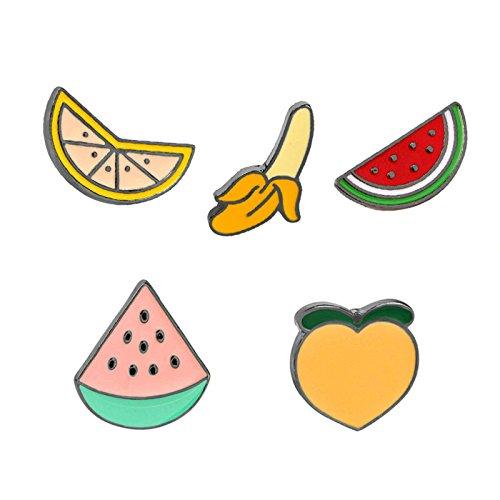 Daesar Mädchen Legierung Broschen Kleidung Dekoration Obst Apfel Banane Pfirsich 5 Stück Damen Brosche Zubehör Mantel Hemd Deko Brooch