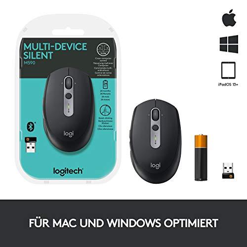 Logitech M590 Silent Kabellose Maus, Bluetooth und 2.4 GHz Verbindung via Unifying USB-Empfänger, 1000 DPI Optischer Sensor, 2-Jahre Akkulaufzeit, PC/Mac - Graphite/Schwarz - 10