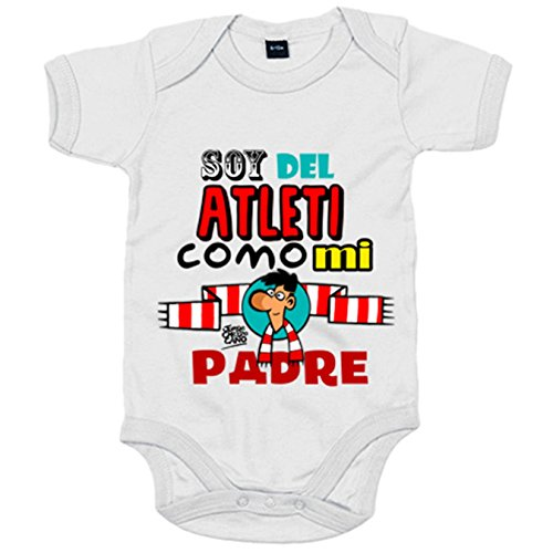 Body bebé Atlético de Madrid soy del Atleti como mi padre - Blanco, 6-12 meses