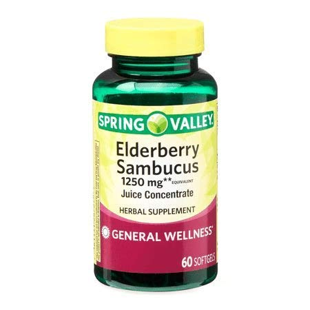 Spring Valley Elderberry Sambucus 1250 mg, General Wellness, 60 Softgels (Pack of 2)