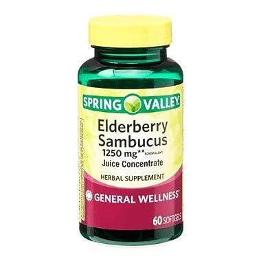 Spring Valley Elderberry Sambucus 1250 mg, General Wellness, 60 Softgels (Pack of 2)