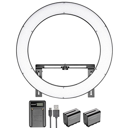 Neewer 19 inches SMD LED Ring Light Dimmable Bi-color Ring Lighting Kit with Stand Bracket, 6600mAh Replacement Battery, USB Battery Charge and Carrying Case for Photo Studio Portrait Video Shooting