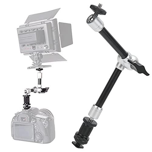 Brazo de fricción de 11 pulgadas, plateado Aleación de aluminio resistente al desgaste Brazo de fricción ajustable de la cámara para micrófono para monitor DV para luces de flash para