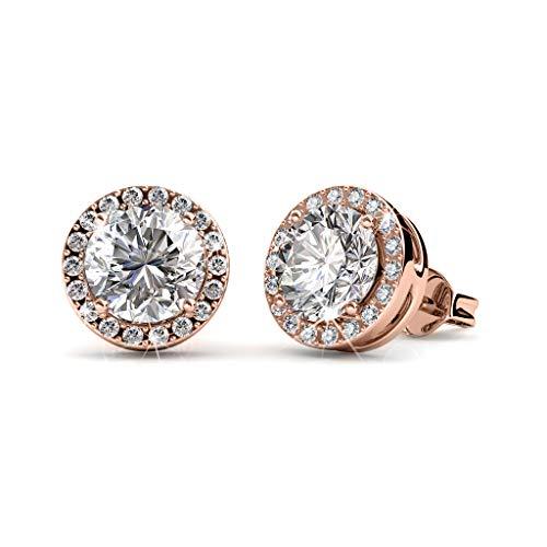 MYC-Paris, Pendientes Sophia, de 8 mm de diámetro, con 38 cristales de Swarovski en un elegante estuche – Regalo de cumpleaños, día de la madre, Navidad – Color oro rosa