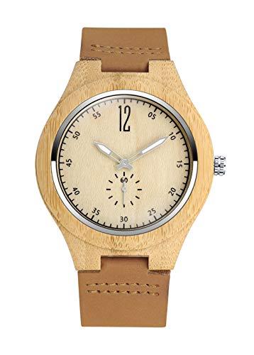 MicLee Reloj de pulsera para hombre y mujer, de madera de bambú, con correa de cuero, esfera de números árabes, reloj de cuarzo de madera natural, reloj decorativo casual
