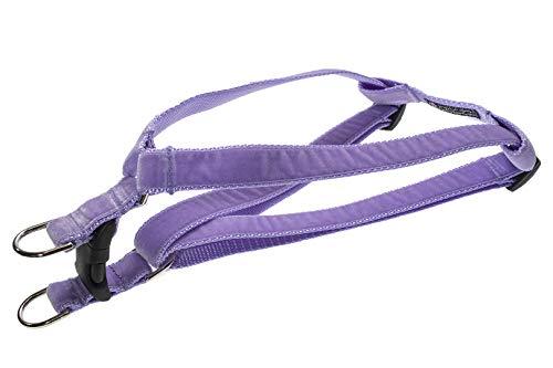 Large Velvet Lavender Dog Harness: 1' Wide, Adjusts 23-35' - Made in USA.