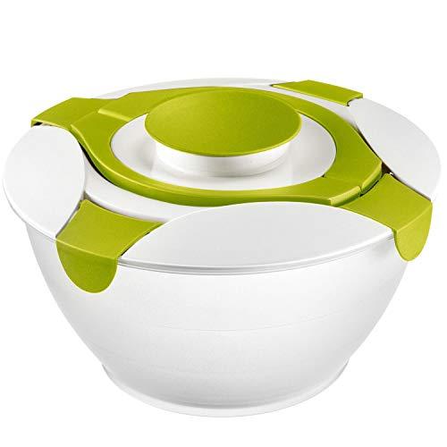 Westmark Salatbutler/-schüssel mit Tragegriffen und Dressing-Behälter, Fassungsvermögen: 6,5 Liter, Kunststoff, Praktika, Transparent/Weiß/Grün, 2422227A