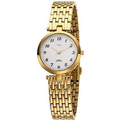 JOBO Reloj de pulsera analógico de cuarzo para mujer de acero inoxidable